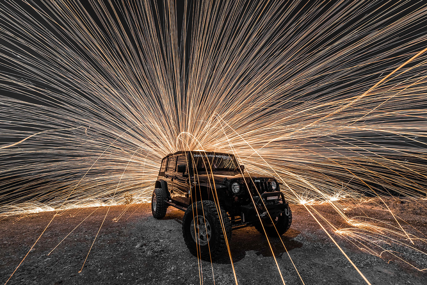 Steel Wool Photography, Jeep Wrangler, Night, Automobile, Adventure Lifestyle Photographer Daniel Britton