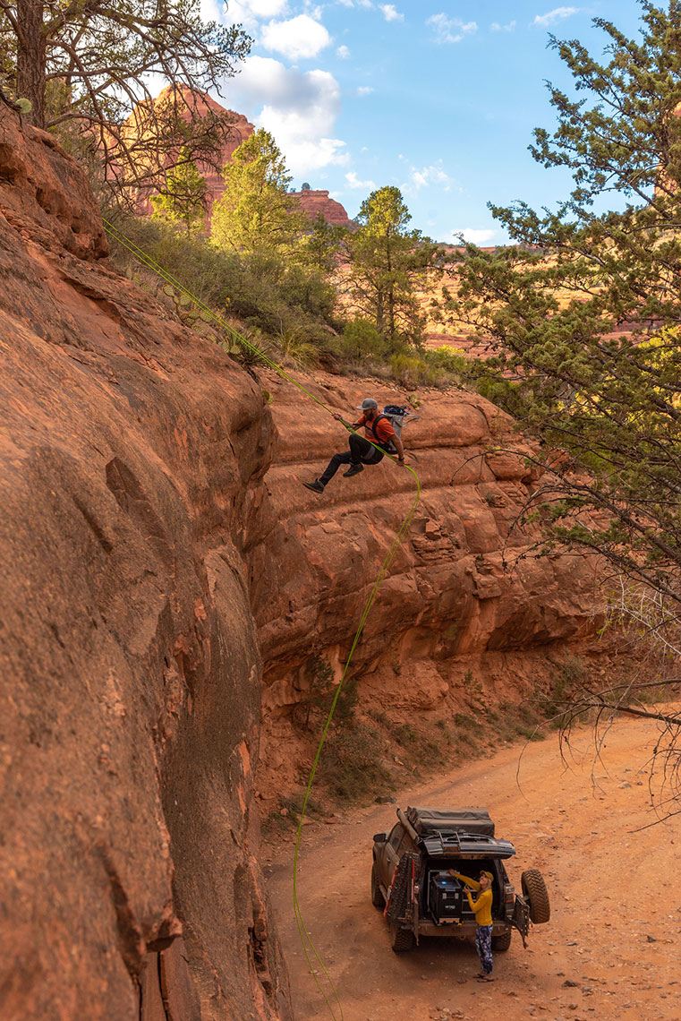 Climber Ryan Robinson rappel Sedona, AZ  Dometic Photoshoot, Lifestyle Adventure Photographer Daniel Britton.