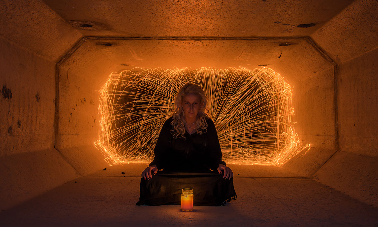 Steel Wool, Portrait Photography, Underground tunnel, Las Vegas, Nevada, Portrait, Lifestyle Photographer, Daniel Britton