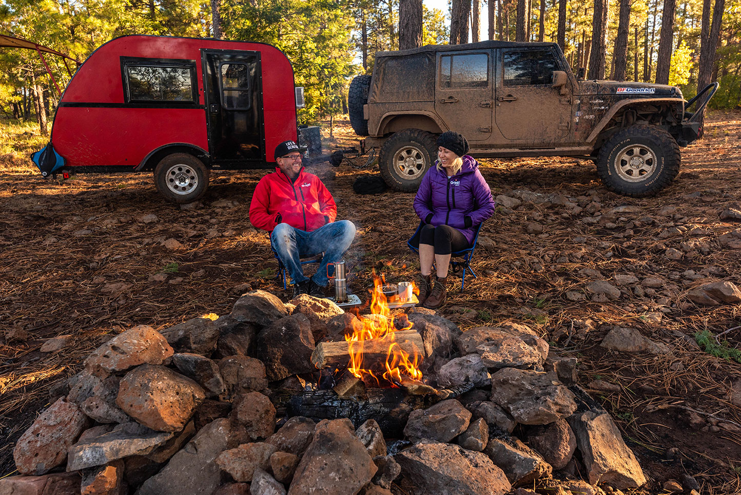 Camping, Vintage Teardrop Trailer, Camp Fire, Off-Road Jeep, Adventure Lifestyle Photographer, Daniel Britton