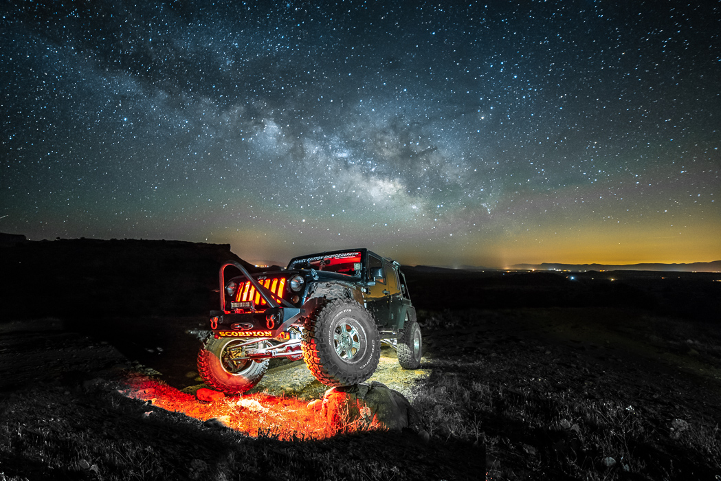 Milky Way Photography, Jeep Wrangler, Night, Automobile, Adventure Lifestyle Photographer Daniel Britton