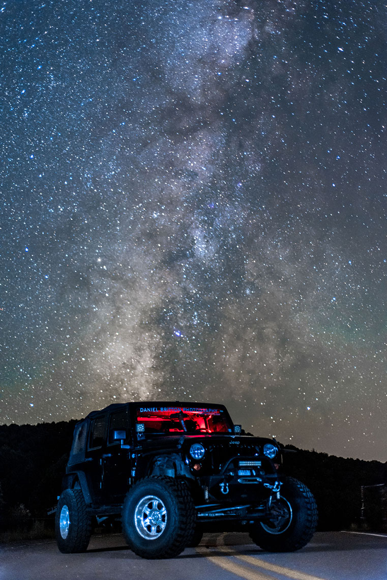Jeep Wrangler, Milky Way, Night Photography, Automobile, Adventure, Lifestyle Photographer, Daniel Britton